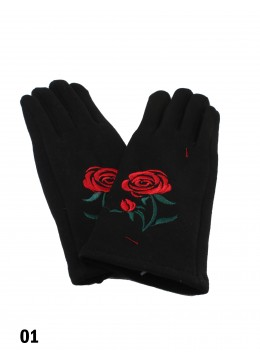 Embroidery Rose Touch Screen Glove
