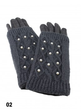 Cable Knit Touch Screen Glove W/ Pearl