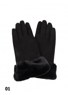 Touch Screen Glove With Faux Leather Edge /Black