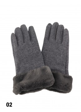 Touch Screen Glove With Faux Leather Edge /Grey
