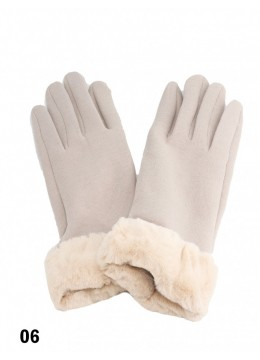 Touch Screen Glove With Faux Leather Edge /Beige