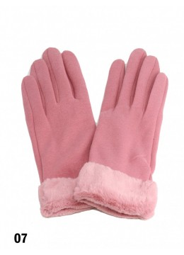 Touch Screen Glove With Faux Leather Edge /Pink