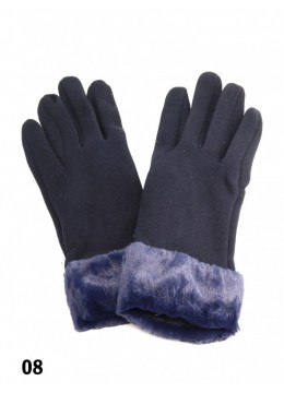 Touch Screen Glove With Faux Leather Edge /Navy