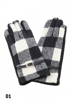 Women's Buffalo Plaid Touch Screen Winter Gloves W/Belt