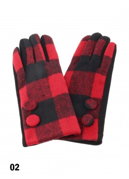 Women's Buffalo Plaid Touch Screen Winter Gloves W/Buttons
