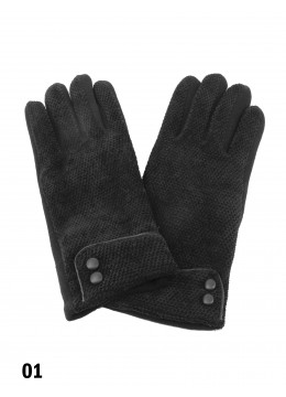 Double Button Chenille Feel Touch Screen Glove /Black