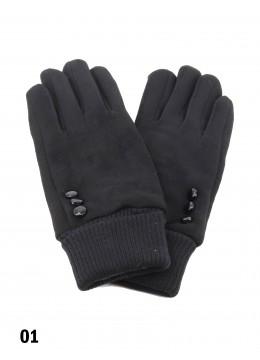 Velvet Stretchy Wrist Touch Screen Glove /Black