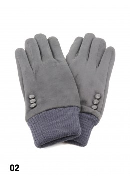 Velvet Stretchy Wrist Touch Screen Glove /Dark Grey
