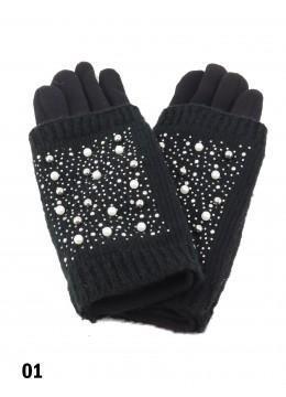 Double Layer Touch Screen Glove W/ Pearl Rhinestone /Black