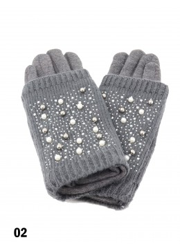 Double Layer Touch Screen Glove W/ Pearl Rhinestone /Dark Grey