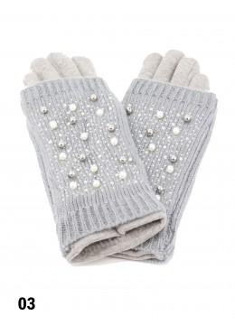 Double Layer Touch Screen Glove W/ Pearl Rhinestone /Grey
