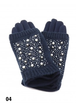 Double Layer Touch Screen Glove W/ Pearl Rhinestone /Navy