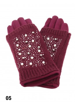 Double Layer Touch Screen Glove W/ Pearl Rhinestone /Burgundy