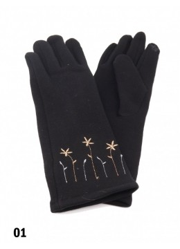 Flower Embroidery Over The Wrist Touch Screen Glove /Black