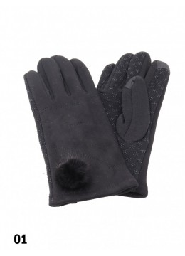Anti-Slip Women Touch Screen Glove W/ Pom Pom /Black