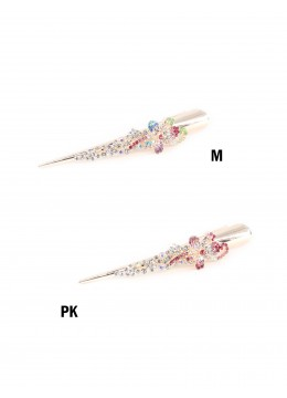 Flower Dance Gold Tone Rhinestone Hair Clip /Metal /Pink