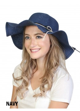 Floppy Straw Hat W/ Pearl & Ribbon /Navy