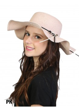 Floppy Straw Hat W/ Pearl & Ribbon /Pink
