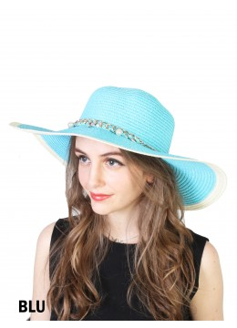 Two Tone Floppy Straw Hat W/ Pearl