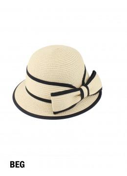 Straw Hat W/ Bowknot /Beige