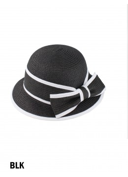 Straw Hat W/ Bowknot /Black