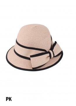 Straw Hat W/ Bowknot /Pink