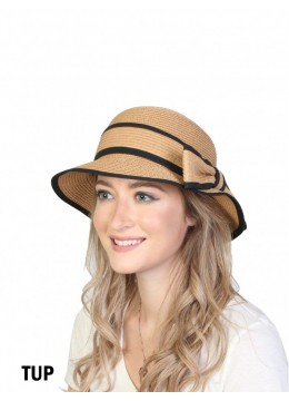 Straw Hat W/ Bowknot /Taupe