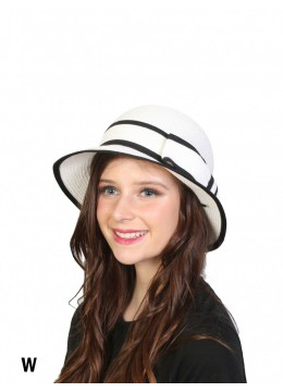 Straw Hat W/ Bowknot /White