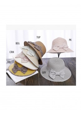 Straw Hat W/ Ribbon Bow /Grey