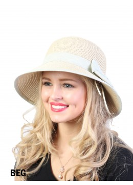 Straw Hat W/ Ribbon Bow /Beige