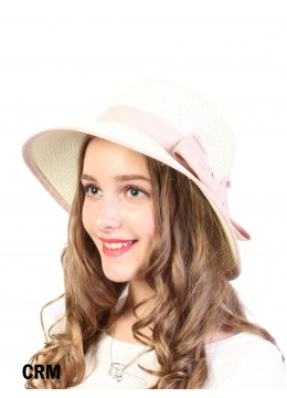 Straw Hat W/ Ribbon Bow /Cream