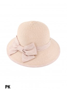Straw Hat W/ Ribbon Bow /Pink