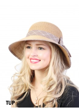 Straw Hat W/ Ribbon Bow /Taupe