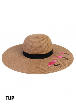 Flamingo Embroidery Sun Hat