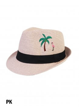 Flamingo & Tree Embroidery Fedora Hat