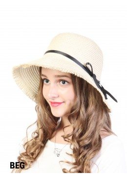 Straw Hat W/ Black Ribbon Bow /Beige