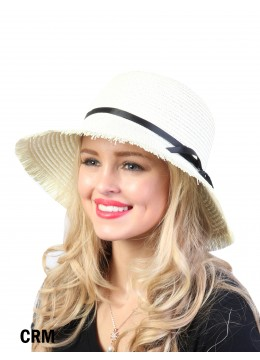 Straw Hat W/ Black Ribbon Bow /Cream