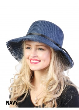 Straw Hat W/ Black Ribbon Bow /Navy