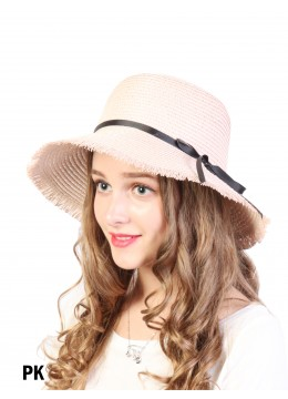 Straw Hat W/ Black Ribbon Bow /Pink