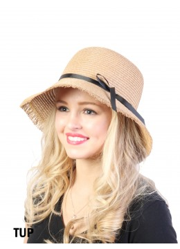 Straw Hat W/ Black Ribbon Bow /Taupe