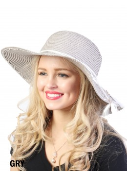 Floppy Straw Hat W/ Bow and Tassel