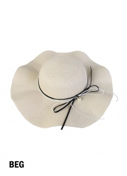 Floppy Straw Hat W/ Pearl & Ribbon /Beige