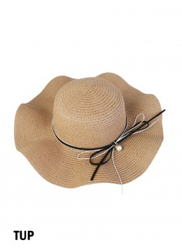 Floppy Straw Hat W/ Pearl & Ribbon /Taupe