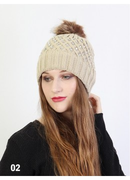 Knitted Hat W/ Rhinestones & Removable Pom Pom /Beige