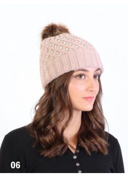 Knitted Hat W/ Rhinestones & Removable Pom Pom /Pink