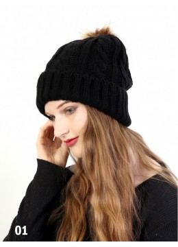 Cable Knitted Hat W/ Removable Pom Pom (Plush Inside) /Black