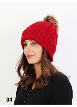 Cable Knitted Hat W/ Removable Pom Pom (Plush Inside) /Burgundy
