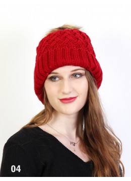 Weave Knitted Hat W/ Removable Pom Pom /Burgundy
