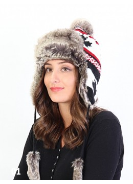 Warm Fur Maple Leaf Knitted Hat W/ Ear Flaps & Fur Tassels /Black