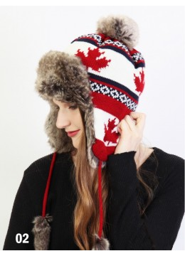 Warm Fur Maple Leaf Knitted Hat W/ Ear Flaps & Fur Tassels /Red